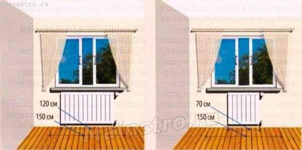 Если подоконник длинный, под ним лучше установить однопанельный радиатор