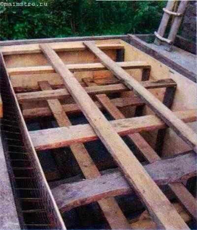 Чтобы бетоном не выдавило фанерную опалубку, нужны крепкие распорки