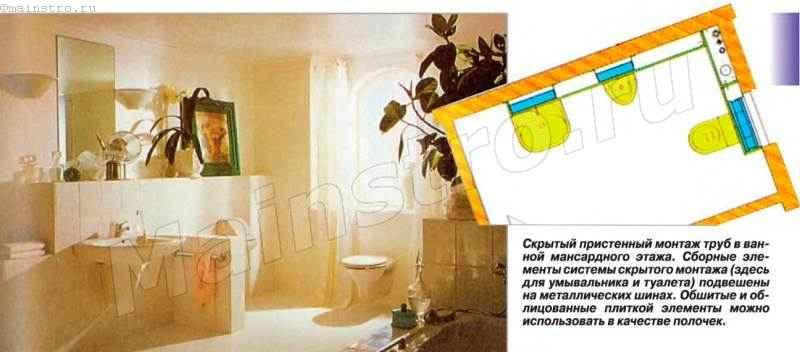 Скрытый пристенный монтаж труб в ванной мансардного этажа