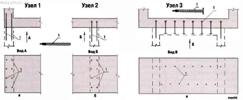 Варианты жёсткого - соединения фундамента пристройки с фундаментом дома