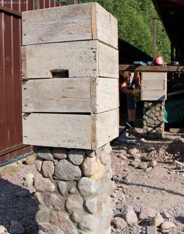 Как сделать столб забора из камня 960