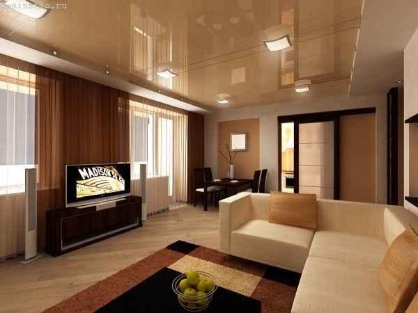 Натяжные потолки в гостиной