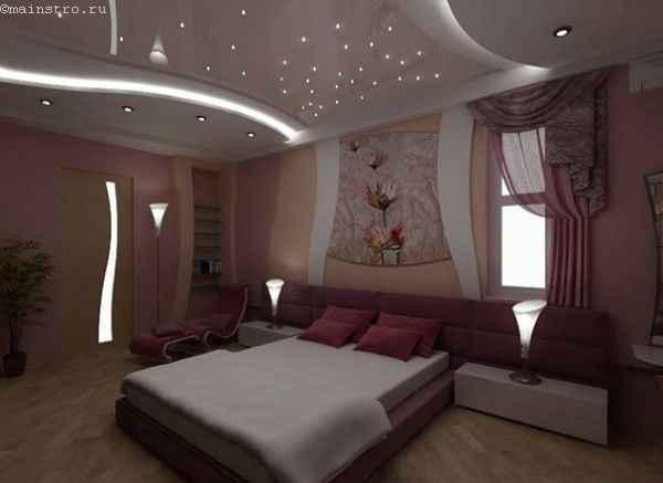 Натяжные потолки с подсветкой в нише