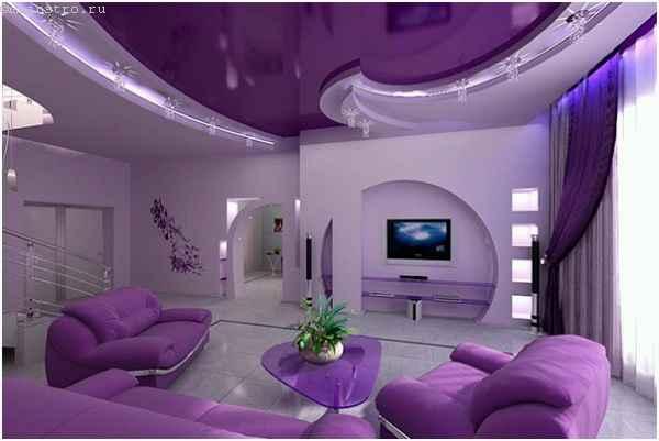 Фиолетовый натяжной потолок в двух уровнях