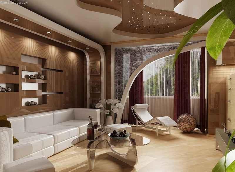 Коричневый натяжной потолок со звездами