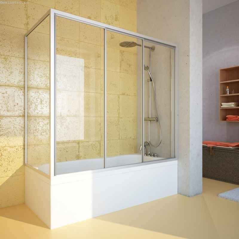 Стеклянные раздвижные шторы для ванны