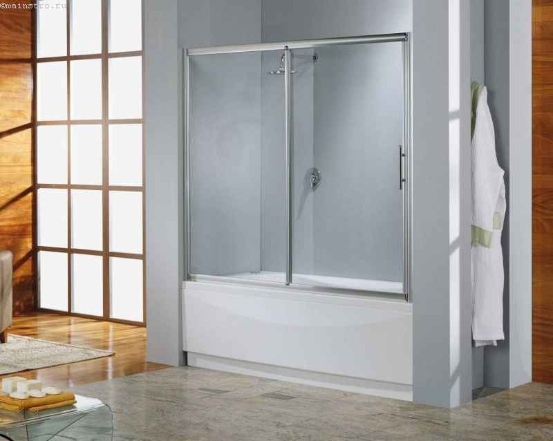 Стеклянная раздвижная штора для ванной
