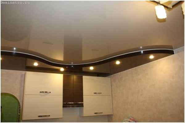 Черно-белые комбинированные натяжные потолки