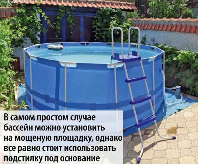 каркасный бассейн с лестницей