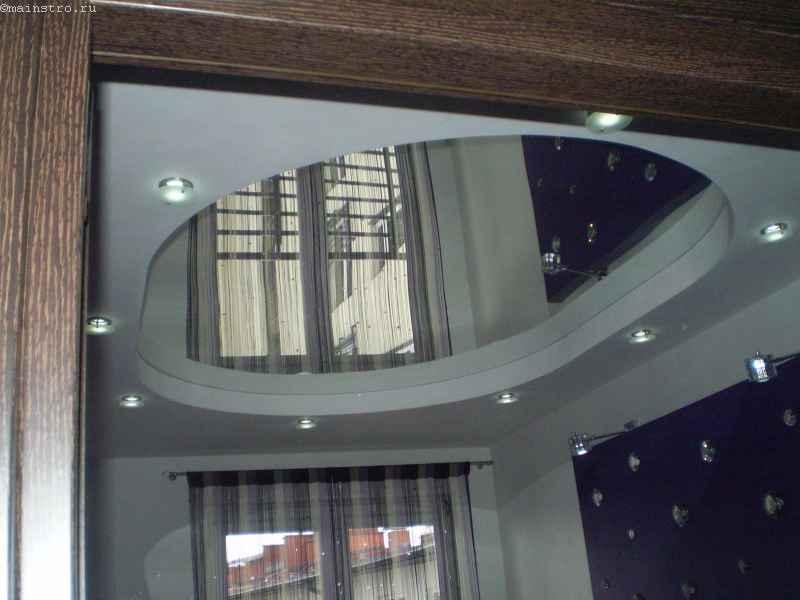 зеркальный двухуровневый натяжной потолок