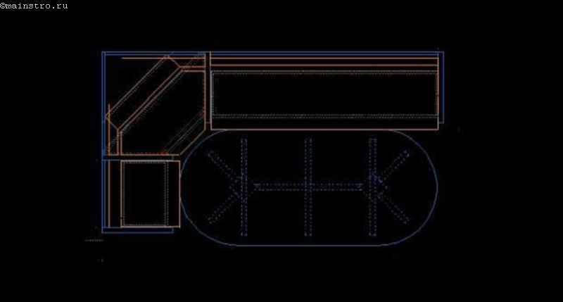 чертёж кухонного уголка, выполненный в AutoCad