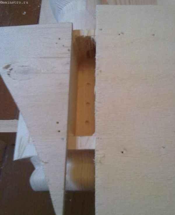 паз в ножке кухонного стола под крепеж