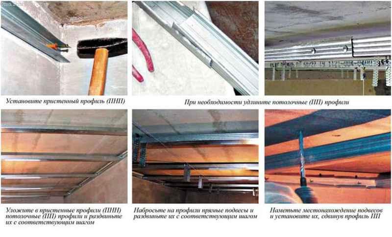 Последовательность установки каркаса гипсокартонного потолка с пристенными профилями