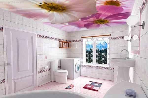 натяжной потолок с фотопечатью-цветы в ванной
