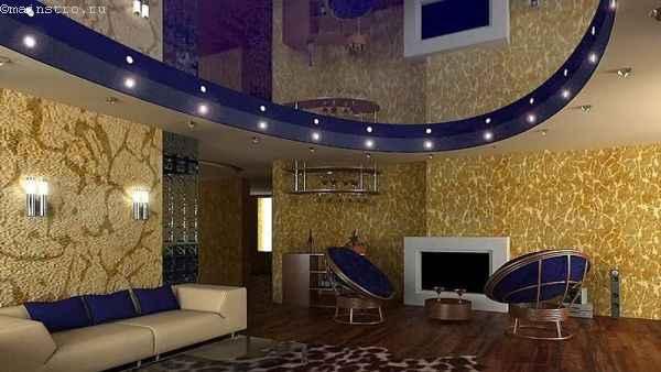 дизайн двухуровневого натяжного потолка