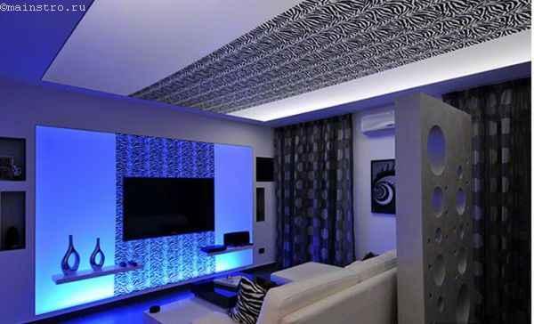 дизайн натяжного потолка в интерьере