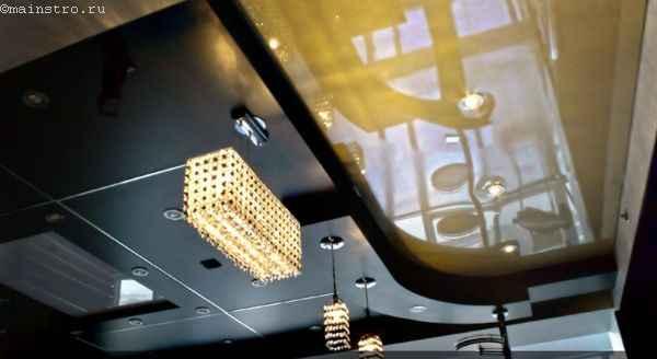 дизайн натяжного потолка с подвесным