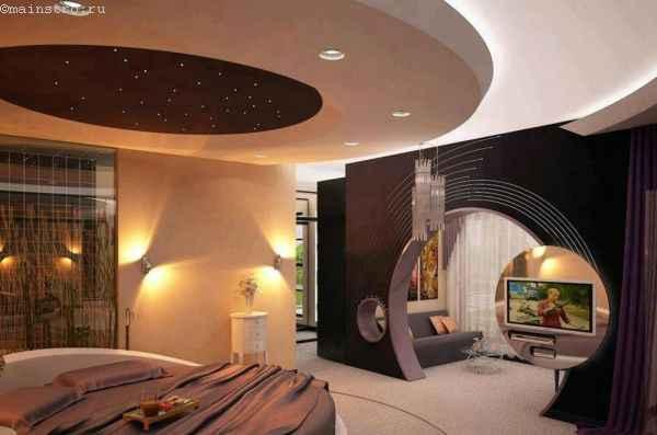 натяжной потолок в виде звездного неба в спальне