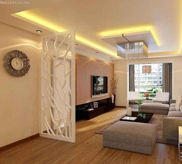 зонирование помещения с помощью натяжного потолка