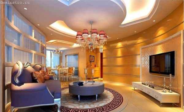 дизайн натяжного потолка для большого помещения