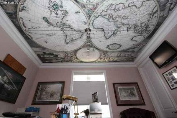натяжной потолок с фотопечатью в кабинете