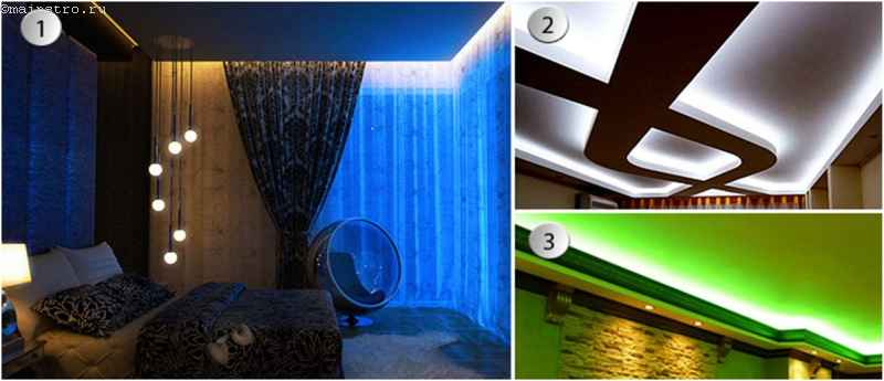 виды освещения натяжного потолка