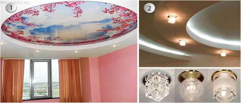 виды точечных светильников для натяжных потолков