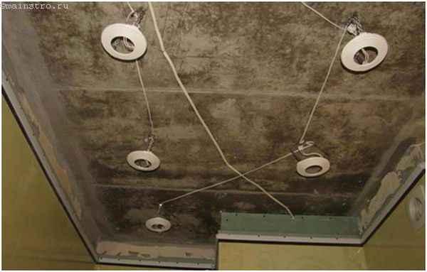 подготовка к монтажу светильников на натяжном потолке