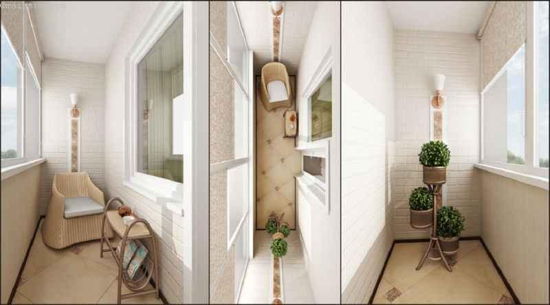 Маленький балкон изнутри - проект дизайна