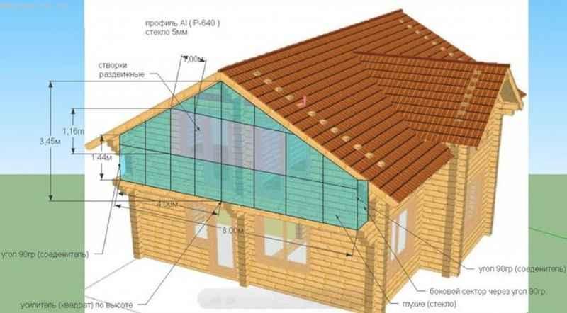Проект дома с балконом с остеклением в программе