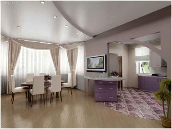 Сатиновый натяжной потолок в два уровня для столовой