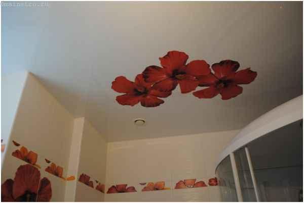 ПВХ натяжные потолки с фотопечатью в ванной