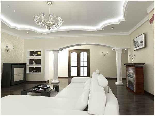 Парящий натяжной потолок белого цвета