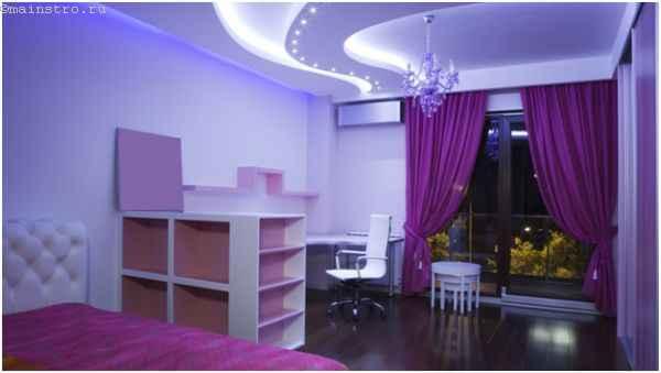 Парящий натяжной потолок с разнообразной подсветкой