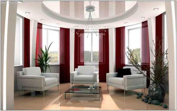 Зеркальный натяжной потолок круглой формы с подсветкой