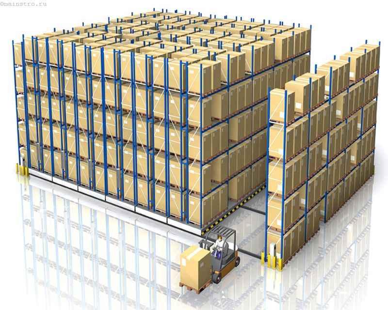 Паллетные складские стеллажи на мобильной базе