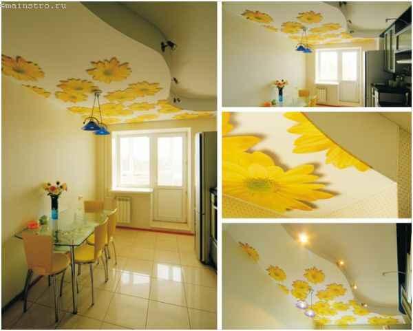 На фото тканевые экологические натяжные потолки с 3Д печатью