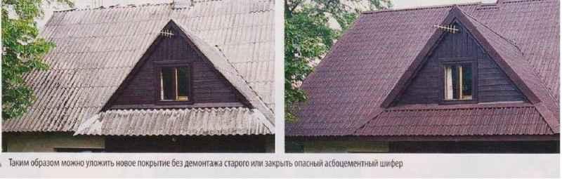 Ремонт скатной крыши без демонтажных работ: фото до и после