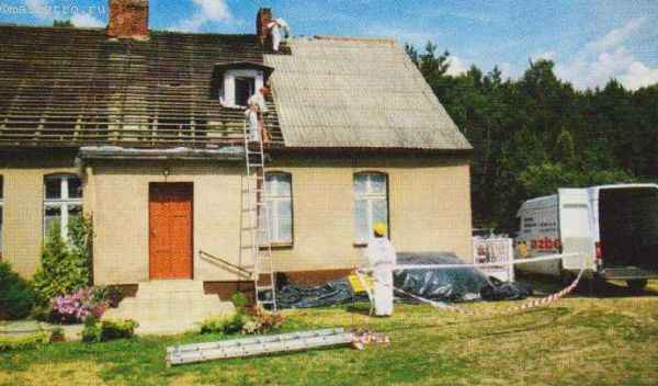 Полный ремонт скатной крыши из асбестового покрытия