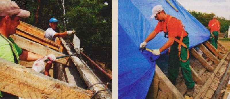 На фото ремонт скатной крыши с полной заменой материала