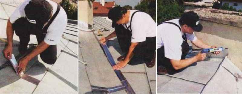 Ремонт скатной крыши, покрытой металлическими листами, с помощью уплотняющих лент и силикона