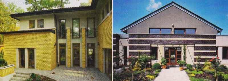Частичное использование клинкерного кирпича для фасада