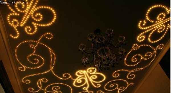 Натяжные потолки с неоновой подсветкой