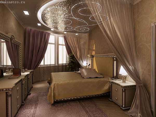Шикарные натяжные потолки в спальне