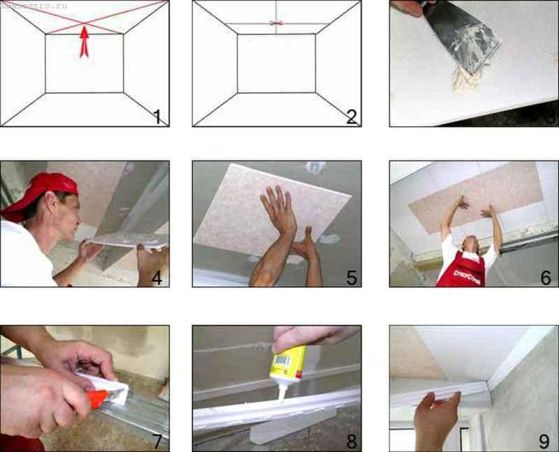 Монтаж потолочной плитки инструкция