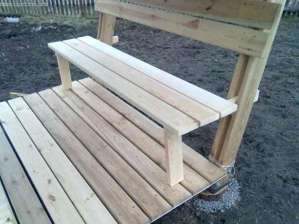 Спеиальные бруски в стоках сидений садовой беседки