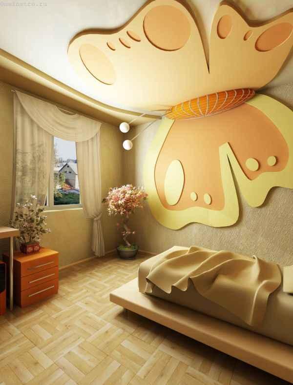 Матовые натяжные потолки в виде бабочки