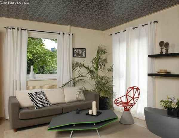 Узорчатые матовые натяжные потолки