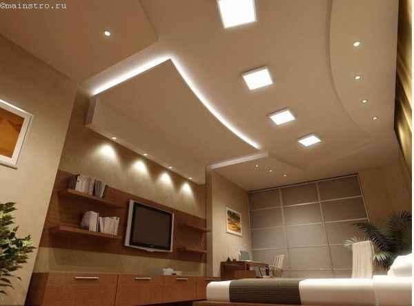 Матовые натяжные потолки с подсветкой