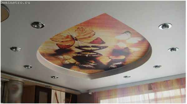 Натяжные потолки с фотопечатью с гипсокартонными потолочными системами